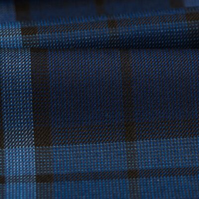 H3102 - Navy Plaid Check W/ Blue Black OC (270 grams / 9 Oz)
