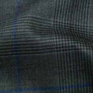 H5907 - CHARCOAL TRAM PLAID W/ ELECTRIC BLUE WINDOW PANE (275 grams / 8 Oz)