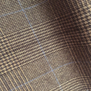 H7226 - LIGHT BROWN PRINCE OF WALES WITH BLUE OVERCHECK FLANNEL (12-13oz /340gms - 370gms)