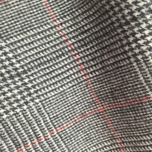 H7227 - GREY PRINCE OF WALES WITH RED OVERCHECK FLANNEL (12-13oz /340gms - 370gms)