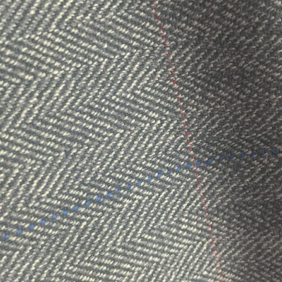 H7411 - GREY HERRINGBONE WITH BLUE & RED OVER-CHECKS (500 grams / 17 Oz)