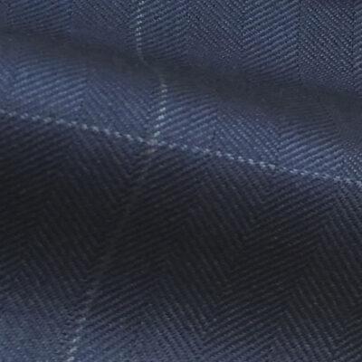 H7934 - DARK FRENCH BLUE HERRINGBONE WINDOW PANE (250-280 grams / 8-9 Oz)