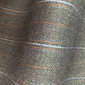 HC906 - MID GREY FANCY TWILL with GOLD WHITE BLUE PIN STRIPES (380-400 grams / 13-14 Oz)