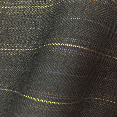 HC907 - GREY FANCY TWILL with GOLD LILAC ORANGE PIN STRIPES (380-400 grams / 13-14 Oz)