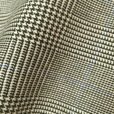HC963 - CLASSIC Prince of Wales Check with BLUE Overcheck (380-400 grams / 13-14 Oz)