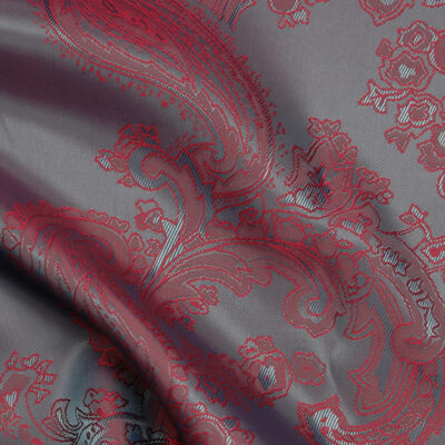 HTL 7028 - Large Paisley Dk Grey with Ruby