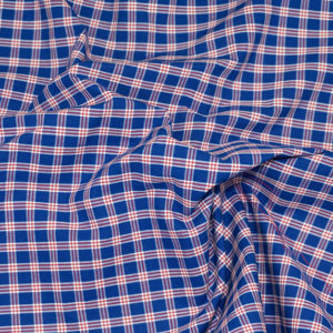 HTS 8492 - Easy-Iron Poplin Royal Blue/ Red