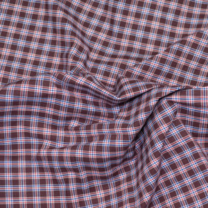 HTS 8493 - Easy-Iron Poplin Chocolate Brown/ Red/ Navy