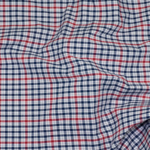 HTS 8496 - Easy-Iron Poplin Navy Blue/Red