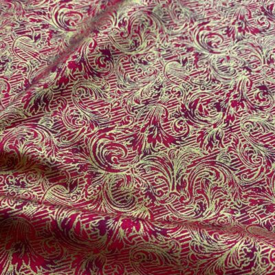 SAL86 - Red W/ Western Gold Linen Poly Blend
