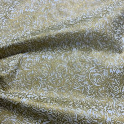 SAL87 - White W/ Western Gold Linen Poly Blend